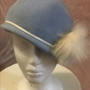 Baby blue hand made vintage hat